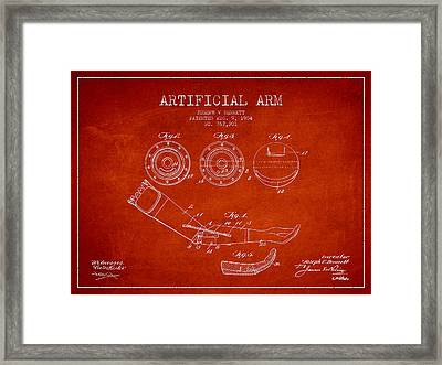 Artificial Arm Patent From 1904 - Red Framed Print