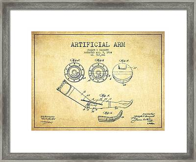 Artificial Arm Patent From 1904 - Vintage Framed Print by Aged Pixel