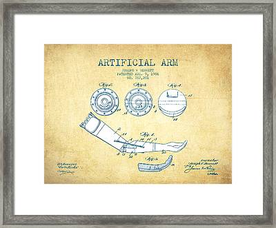 Artificial Arm Patent From 1904 - Vintage Paper Framed Print