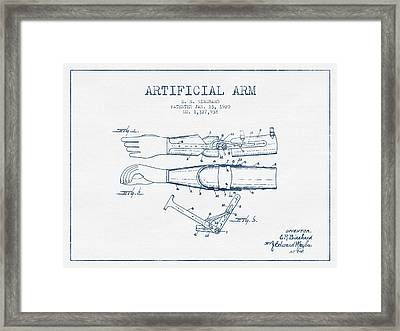 Artificial Arm Patent From 1920 - Blue Ink Framed Print