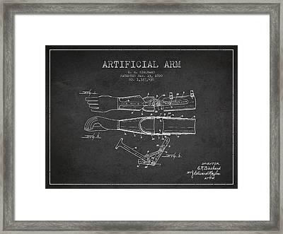 Artificial Arm Patent From 1920 -dark Framed Print