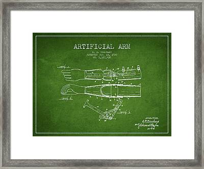Artificial Arm Patent From 1920 - Green Framed Print