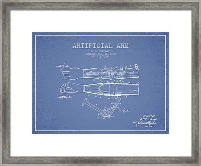 Artificial Arm Patent From 1920 - Light Blue Framed Print