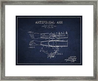 Artificial Arm Patent From 1920 - Navy Blue Framed Print