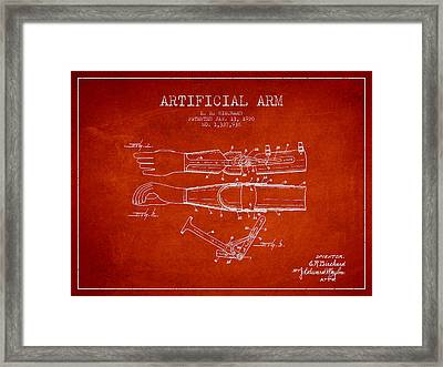 Artificial Arm Patent From 1920 - Red Framed Print