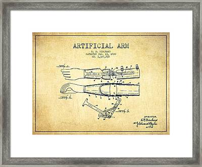 Artificial Arm Patent From 1920 - Vintage Framed Print