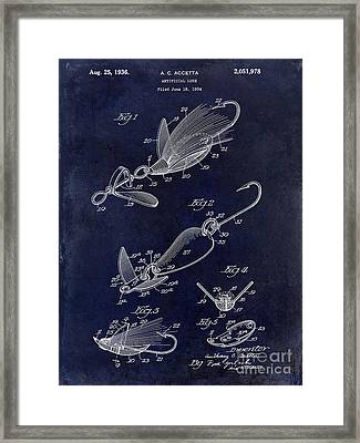 1936 Artificial Bait Patent Drawing Blue Framed Print