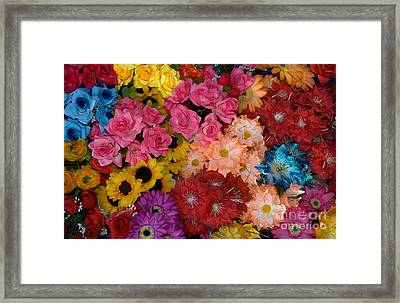 Artificial Flowers At An Acapulco Market Framed Print