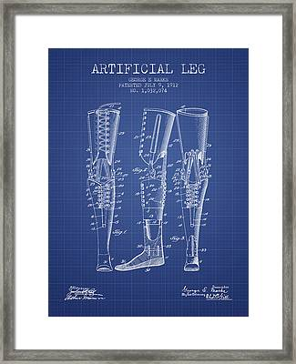 Artificial Leg Patent From 1912 - Blueprint Framed Print by Aged Pixel