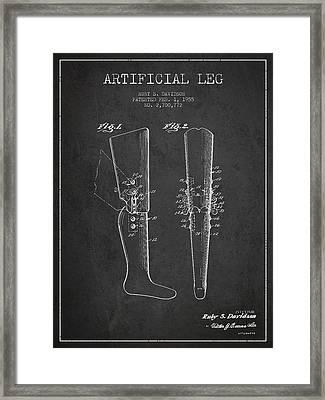 Artificial Leg Patent From 1955 - Dark Framed Print