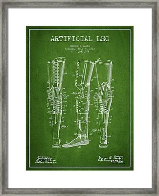 Artificial Leg Patent From 1912 - Green Framed Print