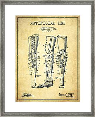 Artificial Leg Patent From 1912 - Vintage Framed Print