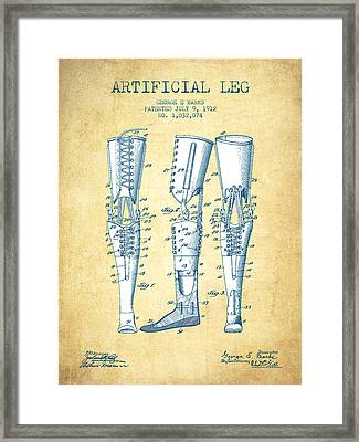 Artificial Leg Patent From 1912 - Vintage Paper Framed Print