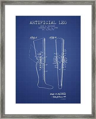 Artificial Leg Patent From 1955 - Blueprint Framed Print