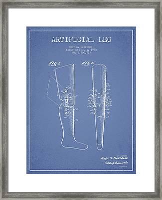 Artificial Leg Patent From 1955 - Light Blue Framed Print