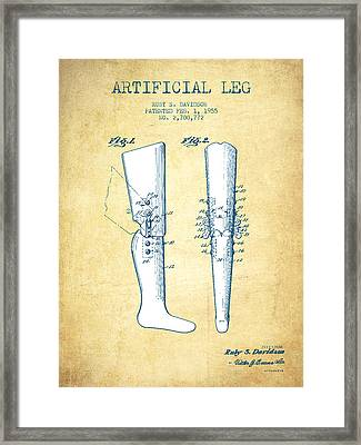 Artificial Leg Patent From 1955 - Vintage Paper Framed Print