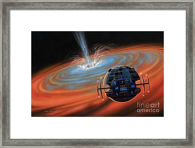 Artificial Planet Orbiting A Black Hole Framed Print by Lynette Cook