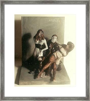 Artist 2 Models In Black Lingerie Framed Print by Harry WEISBURD