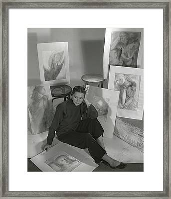 Artist Irena Wilet Surrounded By Her Drawings Framed Print by Horst P. Horst