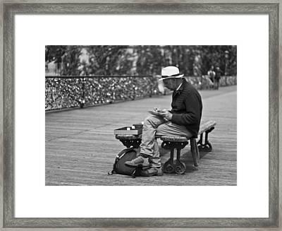 Artist On The Bridge - Paris People Series Framed Print by Georgia Fowler