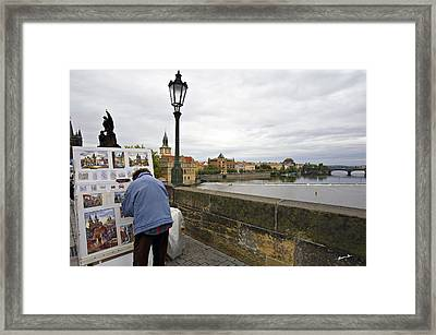 Artist On The Charles Bridge - Prague Framed Print by Madeline Ellis