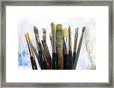 Artist Paintbrushes Framed Print by Garry Gay