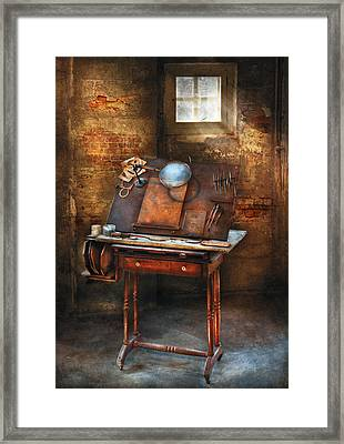 Artist - The Etching Table Framed Print by Mike Savad