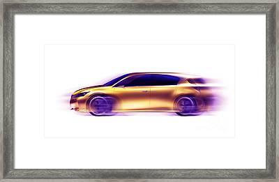 Artistic Dynamic Image Of Moving Blurred Car Framed Print by Oleksiy Maksymenko
