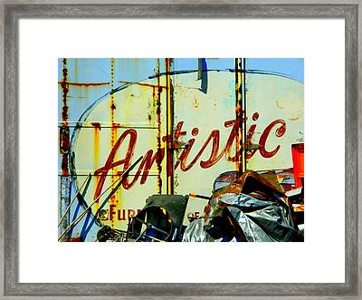 Framed Print featuring the photograph Artistic Junk by Kathy Barney
