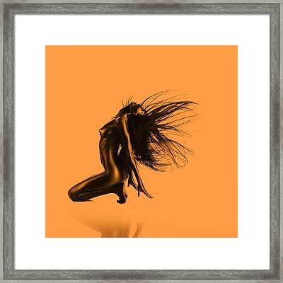 Artistic Nude Orange Framed Print by Dan Comaniciu