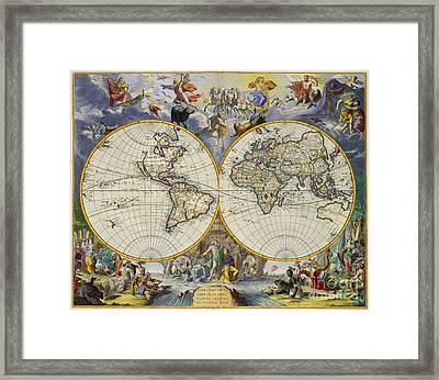 Artistic Old World Art Map  Framed Print by Inspired Nature Photography Fine Art Photography