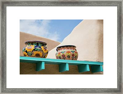 Artistic Pottery Decor, Taos, New Framed Print