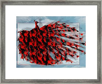Artistic Red Peacock Framed Print