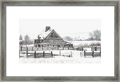 Artistic Winter Barn Framed Print
