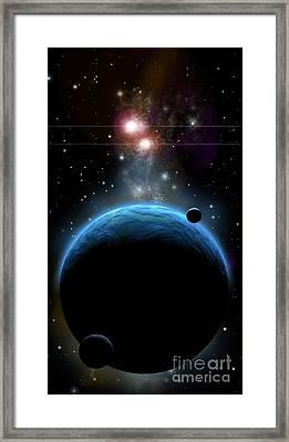 Artists Depiction Of A Blue Planet Framed Print