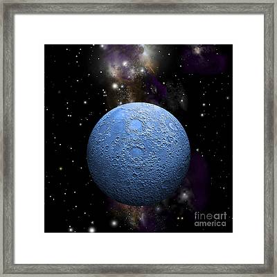 Artists Depiction Of A Cratered Moon Framed Print