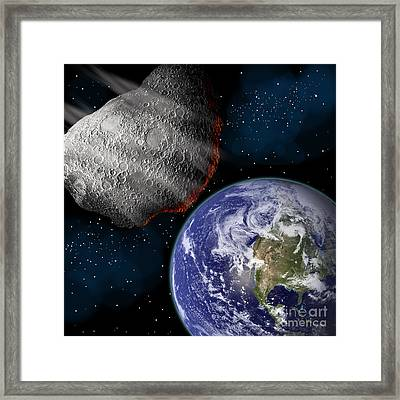 Artists Depiction Of A Large Asteroid Framed Print by Marc Ward