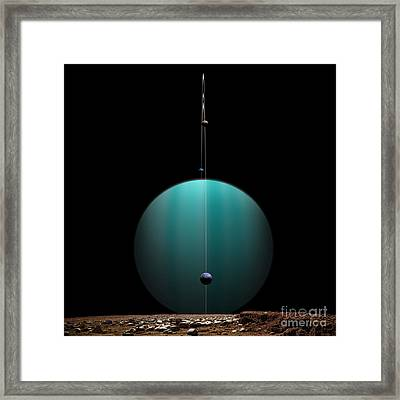 Artists Depiction Of A Ringed Gas Giant Framed Print by Marc Ward
