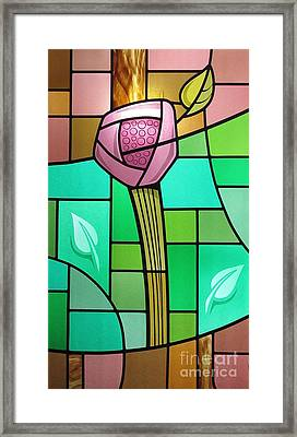 Arts And Crafts Rose Framed Print by Gilroy Stained Glass