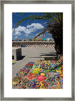 Artwork At Street Market In Curacao Framed Print by Amy Cicconi