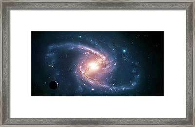 Artwork Of A Barred Spiral Galaxy Framed Print by Mark Garlick
