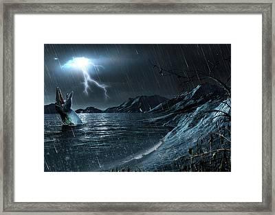 Artwork Of A Mosasaur Framed Print by Mark Garlick