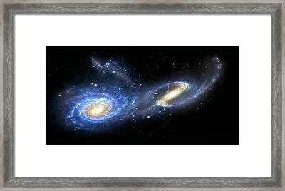Artwork Of A Pair Of Interacting Galaxies Framed Print by Mark Garlick