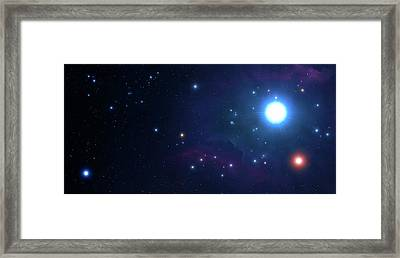 Artwork Of An Open Cluster Of Stars Framed Print by Mark Garlick