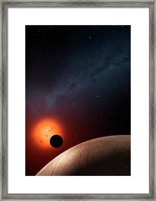 Artwork Of Exoplanet Kepler 62f Framed Print by Mark Garlick