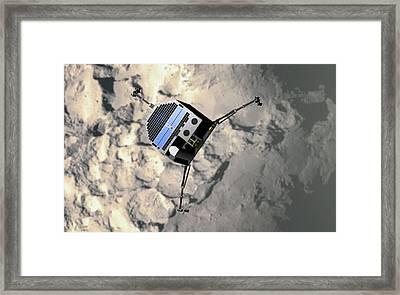 Artwork Of Philae Approaching Comet 67p Framed Print by Mark Garlick