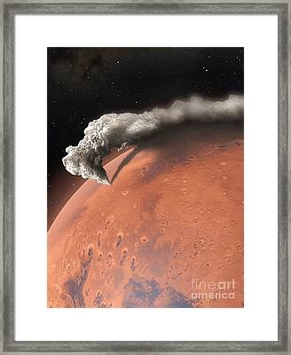 Artwork Of Supervolcano Erupting On Mars Framed Print