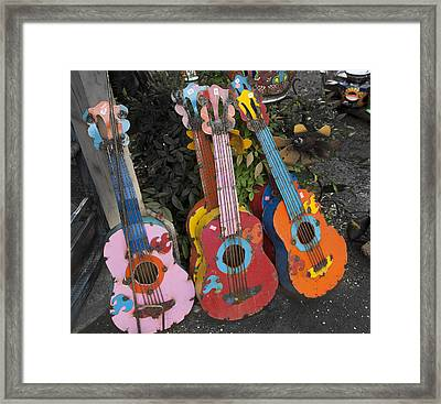 Arty Yard Guitars Framed Print by Greg Kopriva