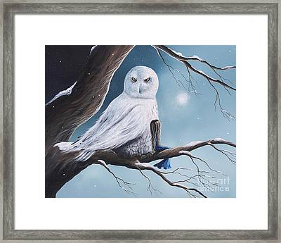 White Snow Owl Painting Framed Print by Shawna Erback