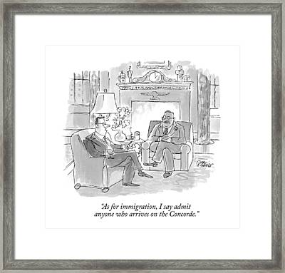 As For Immigration Framed Print by Peter Steiner